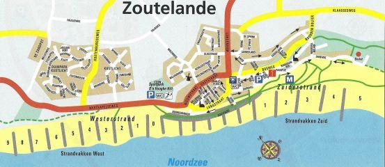 Kaart strandhuisjes Zoutelande